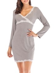 Soft Nightgowns Wave Point Sleepdress Short Sleeve Pajamas