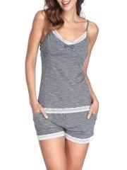 Women Lace Trim Modal Pajamas Cami Shorts Nightwear Sets