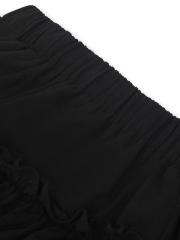 Black 3 Tiered Boho Layered Pleated Ruffle Cotton Maxi Skirt
