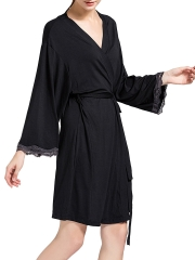 Cotton Bathrobe Lightweight Lounge Robe Comfort Sleepwear