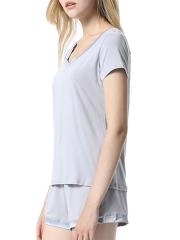 Women's V Neck Short Sleeve Sleepwear Cotton Pajama Set