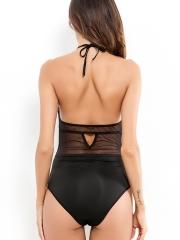 Women's Lace Teddy One Piece Mesh Bodysuit Halter Lingerie