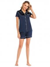 Women Satin Sleepwear Button Down Sexy Cami Short Pajama Set