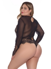 Women Sexy Long Sleeve Transparent Lace Chemise Lingerie