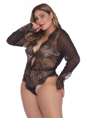 Women Sexy Long Sleeve Transparent Lace Chemise Lingerie