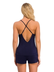 Wholesale lingerie Women's Pajama Top Shorts Sleepwear set