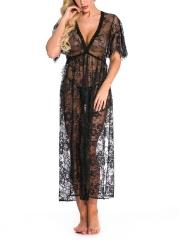 Wholesale Sexy Lingerie Babydoll Nightgown Lace Kimono Robe