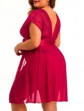 Sexy lace Deep V Women's lingerie Plus size sleepwear dress