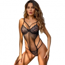 Sexy Siamese Hollow Sets Through Suspenders Sleepwear