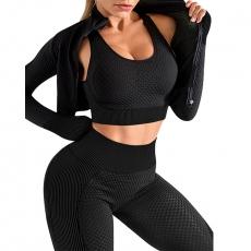 Women Yoga Set Gym Clothing Sportswear Jacket Leggings Suit
