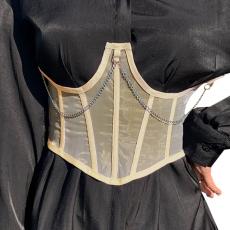 Top Steampunk Waist traniner Corset Chain Decor Wide Belt