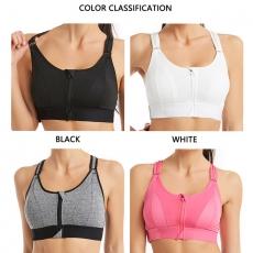 Sports Bra Adjustable Belt Zipper Push Up Underwear Vest Top