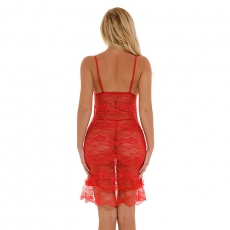 See Through Women Lingerie Set Lace Sleepwear Dress Pajama