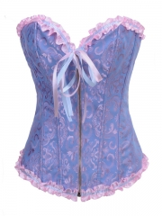 Light Blue High Quality Factory Zipper Corset