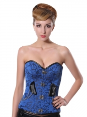 Beautiful Blue Lace Steel Boned Corset Wholesale