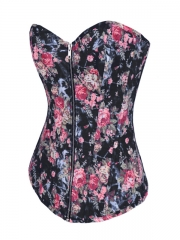 Good Quality Black Flower Denim Fashion Zipper Corset