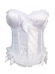 White Satin Top Wholesale Bra Corset High Quality